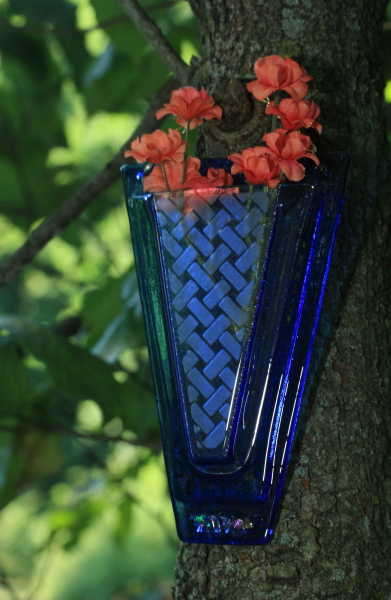 Fused glass flower wall pocket vase sand blasted basket motif