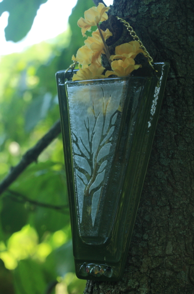 Fused glass flower wall pocket vase sand blasted tree motif