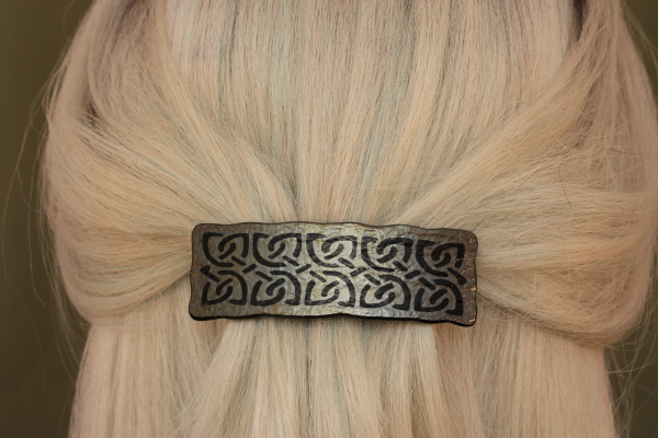 fused glass barrette antiquities sandblasted celtic design