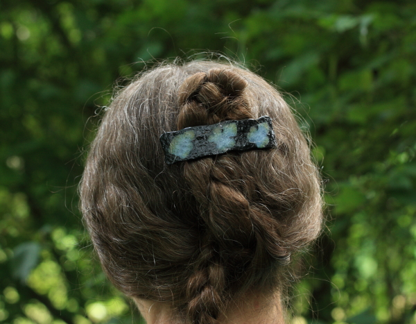 handmade fused glass barrette paleo-glassic fossil vitra
