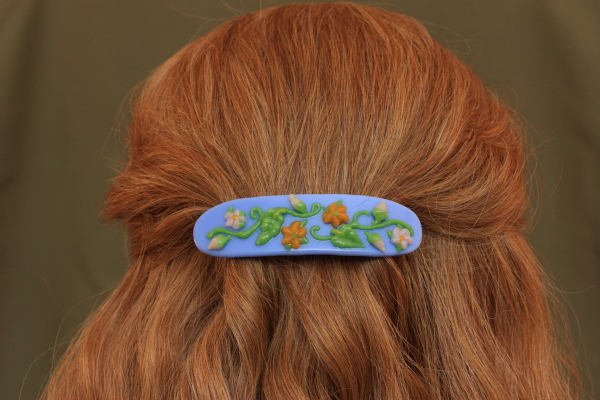 fused glass barrette hair stories flower garden