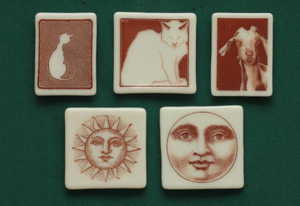 fused glass magnet cat goat sun moon design