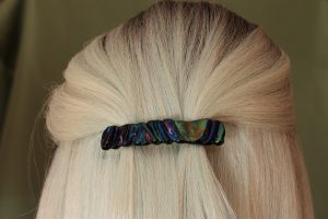fused glass barrette contour