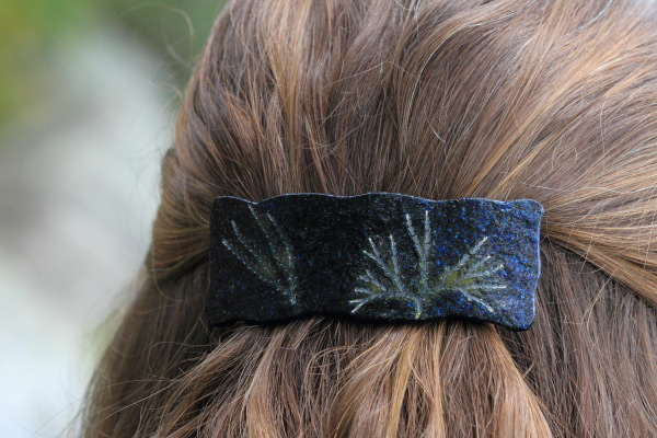 fused glass barrette weathered