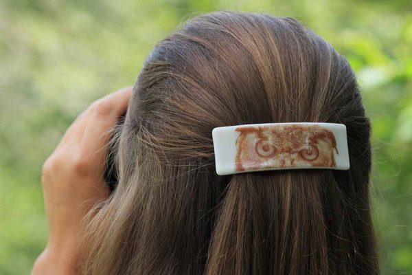 handmade fused glass barrette photo-graphica owl