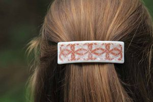 fused glass barrette photo-graphica celtic nordic design