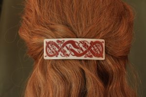 fused glass barrette photo-graphica celtic dog