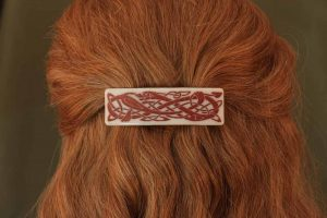 fused glass barrette photo-graphica celtic dragon