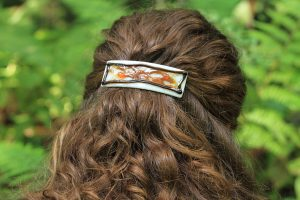 fused glass barrette warp 9