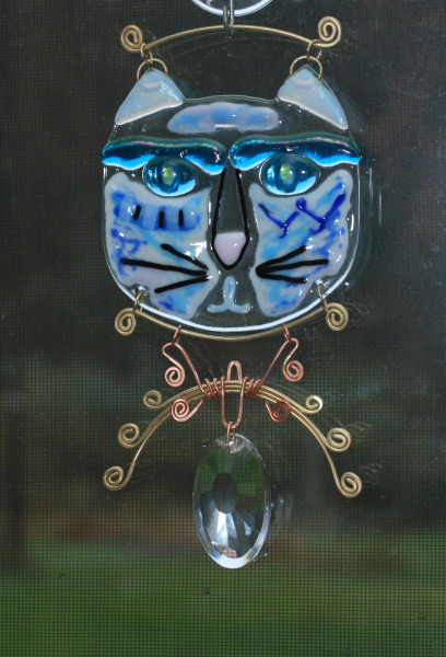 fused glass suncatcher gato cat