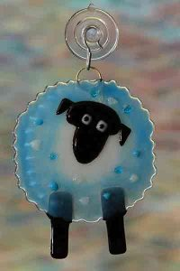 handmade fused glass sheep blue suncatcher