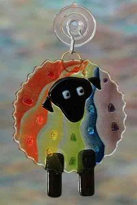 handmade fused glass sheep rainbow suncatcher