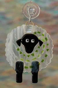 handmade fused glass sheep wispy suncatcher