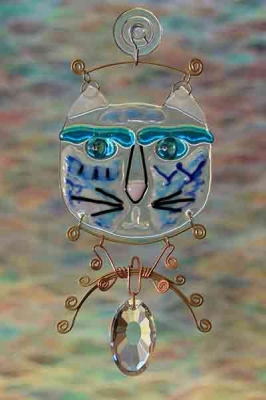 handmade fused glass suncatcher blue gato cat with wire work and crystal