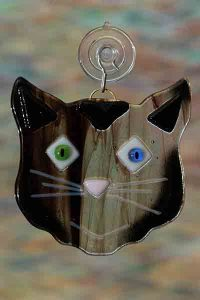 handmade fused glass kisatchie cat streakysuncatcher