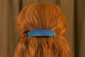 glass hair clip scraps blue streaks