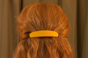 glass hair clip scraps marigold