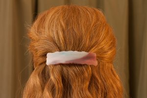 fused glass hair clip weathered white and red