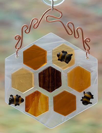 Bee And Honeycomb Suncatcher