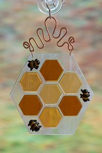 fused glass honeycomb with bees