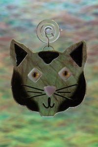 fused glass black cat suncatcher 1