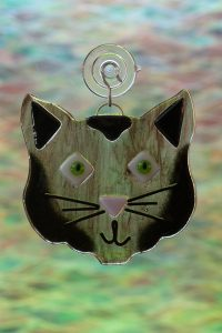 glass black cat suncatcher 2