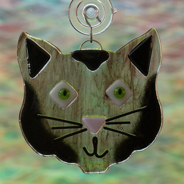 glass black cat suncatcher