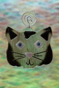 fused glass black cat suncatcher 3