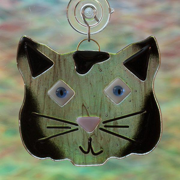 fused glass black cat suncatcher
