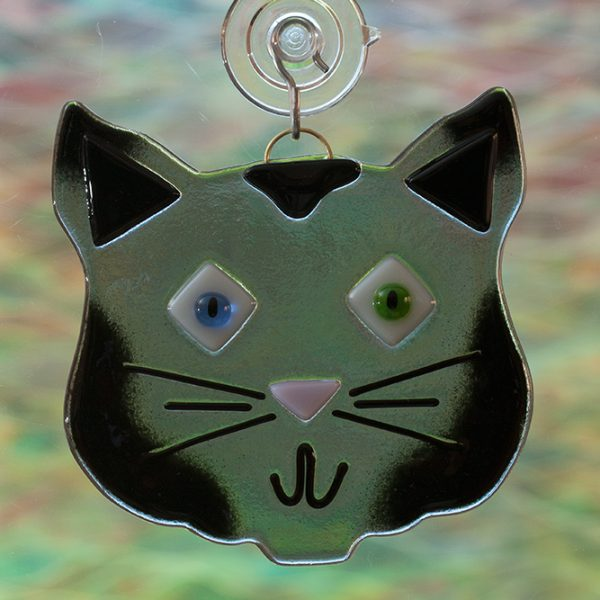 fused glass gray cat suncatcher