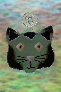 glass gray cat suncatcher