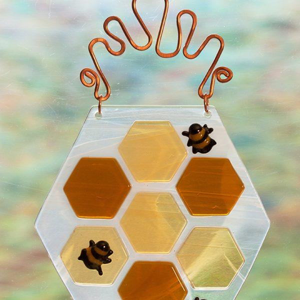 fused glass suncatcher honeycomb bees