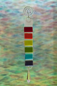 fused glass rainbow rod suncatcher