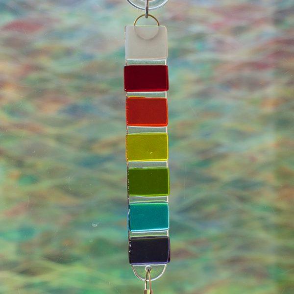 fused glass rainbow rod suncatcher