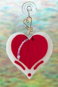fuse glass suncatcher red heart