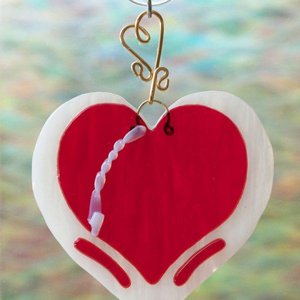 fuse glass suncatcher red heart
