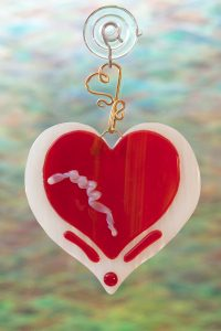 glass suncatcher red heart