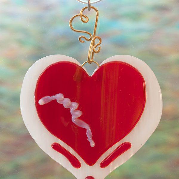 glass suncatcher red heart