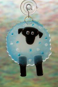 fused glass suncatcher blue sheep 1