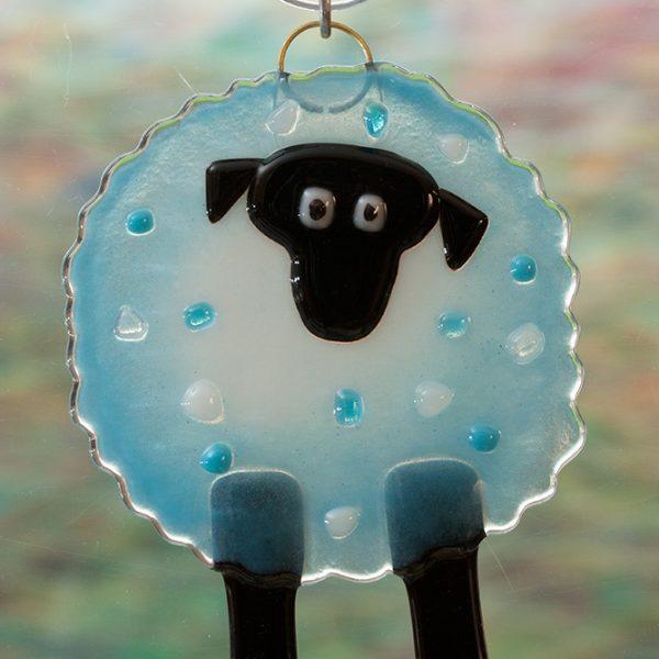 fused glass suncatcher blue sheep