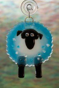 glass suncatcher blue sheep 2