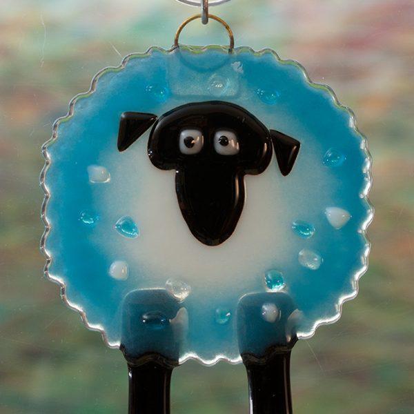 glass suncatcher blue sheep