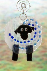 fused glass suncatcher blue streaker sheep 1