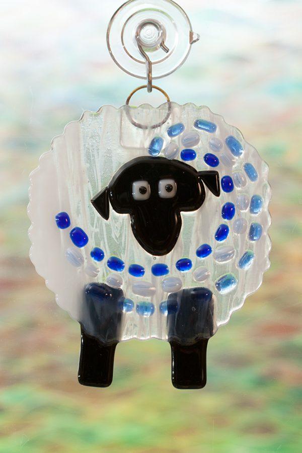 fused glass suncatcher blue streaker sheep
