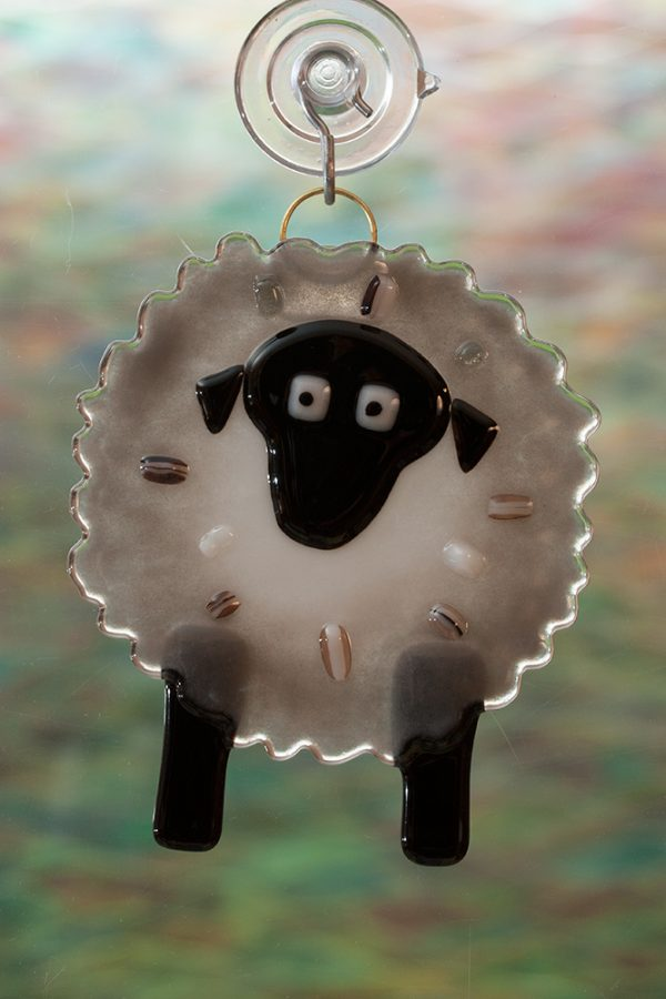 glass suncatcher gray sheep