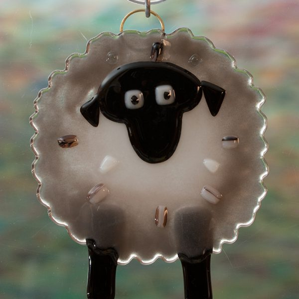 fused glass gray sheep suncatcher