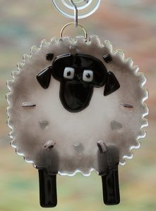 fused glass gray sheep suncatcher