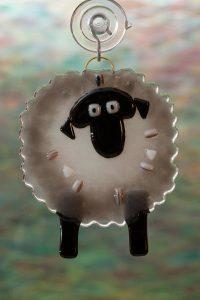 glass gray sheep suncatcher 2