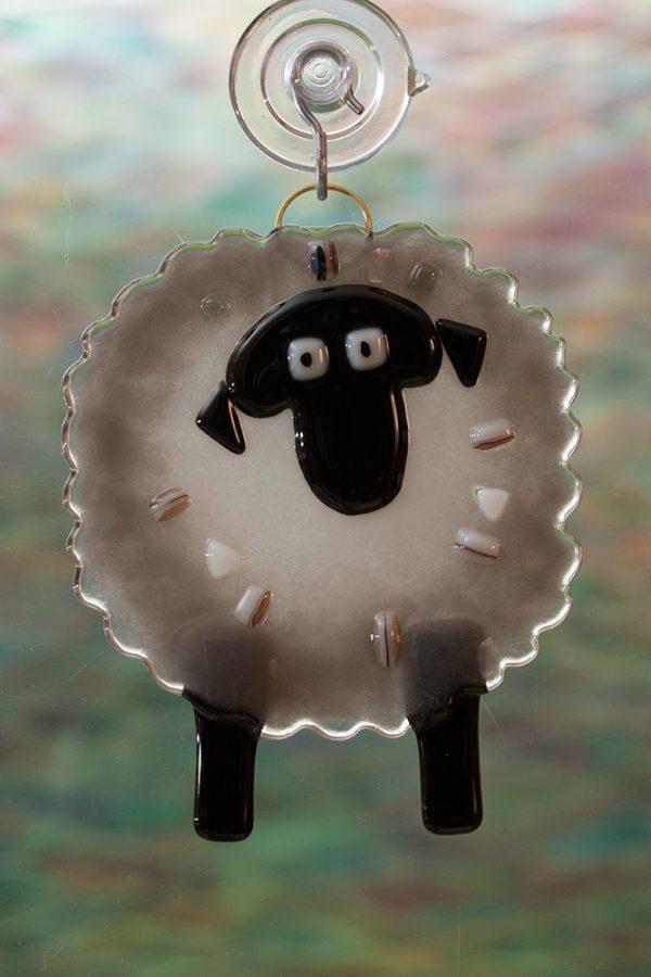 glass gray sheep suncatcher