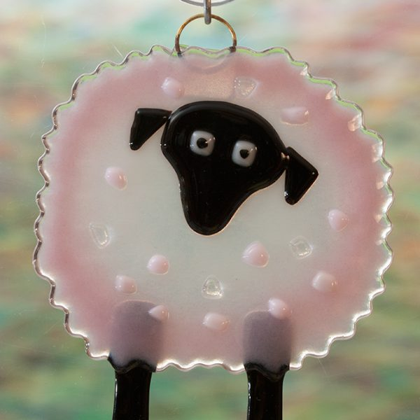 fused glass suncatcher pink sheep